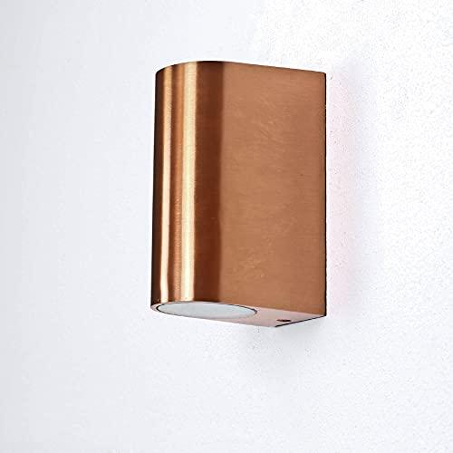 Applique per esterni Aalborg 'Up & Down' elegante lampada in color rame antico, attacco GU10, impermeabile IP44 perfetta per giardino e cortile