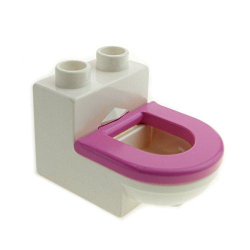 1 x Lego Duplo Möbel Toilette weiss dunkel pink rosa WC mit Deckel Sitz Badezimmer Bad Puppenhaus 4911c05