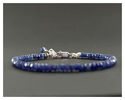 YYYSHOPP Joyería Pulseras Pulsera de Zafiro Azul Azul Piedras Preciosas Bead 925 Pulsera de joyería de Plata esterlina Azul 20cm Esposas (Color : Blue)