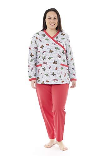 Mabel Intima Pijama Talla Grande Mujer Pijama Manga Larga y pantalón Largo. Color Gris y Rojo. Estampado Mariposas. Talla 62. 95% algodón-5% Spandex Tejido Medio, cálido y Suave