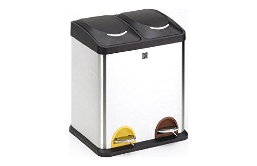 IRIS 944338 Cubo de Reciclaje 2 Compartimentos, Blanco, 48.5