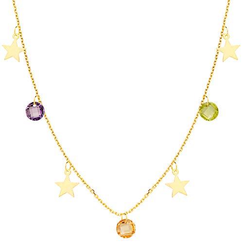 Iyé Biyé Jewels Collar Gargantilla Chapas Estrellas y Circonitas Colores Mujer Niña Oro Amarillo 18 Ktes Cadena Forzada 45 Cm