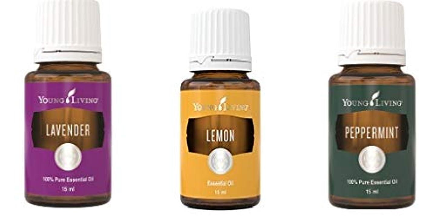 絶望的な上娯楽ヤングリビングイントロキットペパーミント、ラベンダーとレモン15 ml +送料無料 Young Living Intro Kit Peppermint, Lavender and Lemon 15 ml +Free Standard Shipping