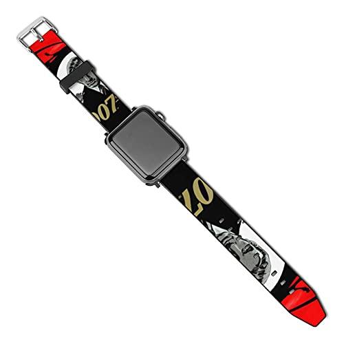 James Bond Correa compatible con Apple Watch Correa de 38 mm 40 mm Series 5 4 3 2 1 y SE, mujeres hombres con hebilla de acero inoxidable, correa de repuesto para iWatch