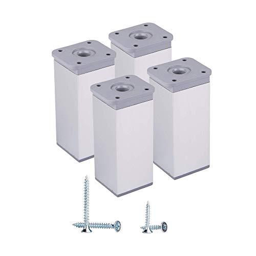 Juego de 4 patas de aluminio de 10 cm, altura ajustable, perfil angular: 40 x 40 mm, materiales: aluminio, plástico, tornillos incluidos (4, aluminio)