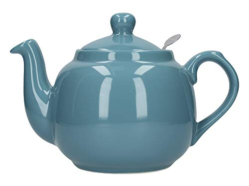 London Pottery Farmhouse Loose Leaf Teapot with Infuser, Ceramic, Aqua, 4 Cup (1.2 Litre)