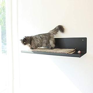 LucyBalu - Tavola sdraio per gatti, in bianco o antracite, per il montaggio a parete, 65 x 34 x 15 cm, metallo verniciato ...