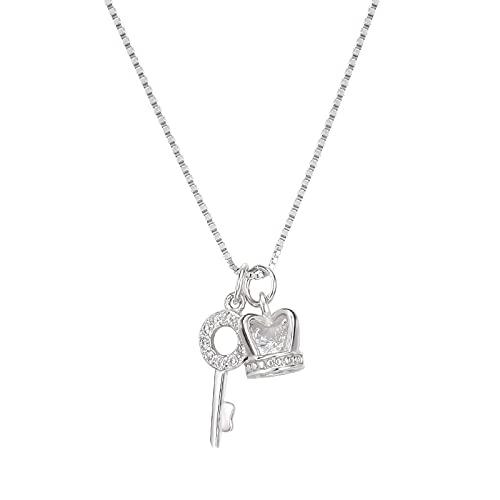 S925 Collar De Llave De Plata Esterlina, Cadena De Clavícula Con Corona De Diamantes Femenina Plata 925 blanco