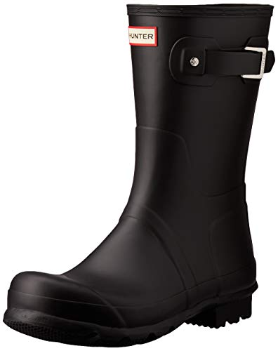 HUNTER Men's Original Short Rain Boots, Black, 7 M US