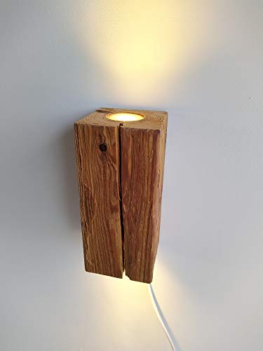 Blockholz-Schmiede LED Wandleuchte Innen - Rustikale Holz Wandlampe für Flur, Treppenhaus, Schlafzimmer - Inklusive Leuchtmittel - 12x12x25 cm (5w nicht Dimmbar Wandanschluß)