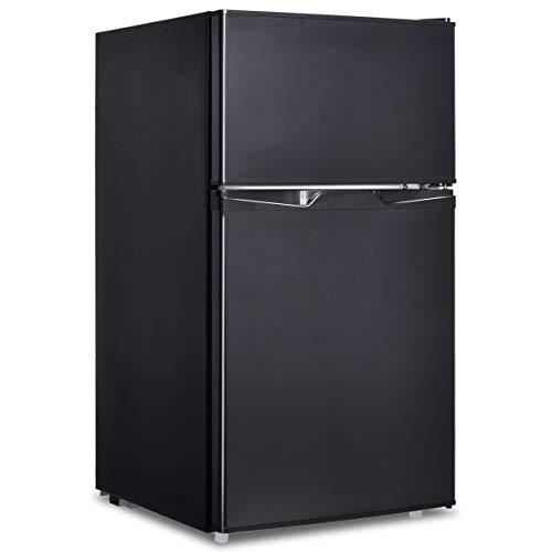 GOPLUS Frigo Frigorifero Doppia Porta a Compressore con Congelatore Regolatore Temperatura, 85 Litri Classe Energetica A