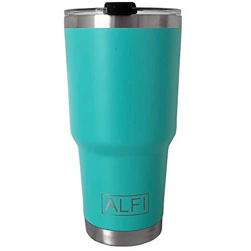 ALFI Thermobecher aus Edelstahl, vakuumisoliert, doppelwandig, Reiseflasche mit spritzwassergeschütztem Deckel, 880 ml, Aquamarin