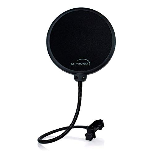 Auphonix Pop Filter Screen for Microphones - Gooseneck Clamp Compatible with...