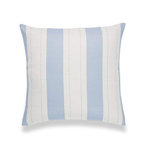 Hofdeco Coastal Decorative Throw Pillow Cover ONLY, for Couch, Sofa, or Bed, Sky Blue Stripe, 20'x20'