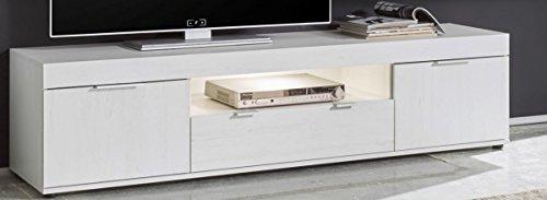 TV-Lowboard 'Tinder' Kommode Konsole TV-Lowboard Phono Möbel Wohnzimmer Pinie Weiss NB/Applikation Matera grau LED Beleuchtung 180x42x42cm