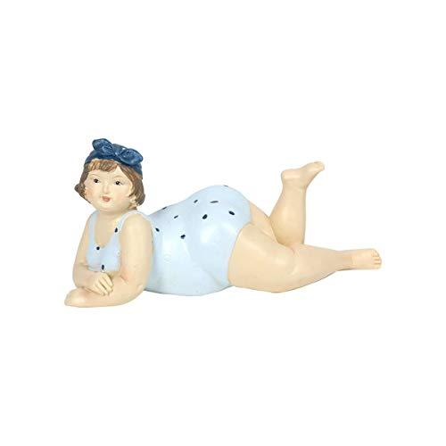 Figura Decorativa de Resina Mujer Bañista Azul Acostada. Adornos y Esculturas. Decoración Hogar Marinera. Regalos Originales. 18 x 7 x 9 cm.