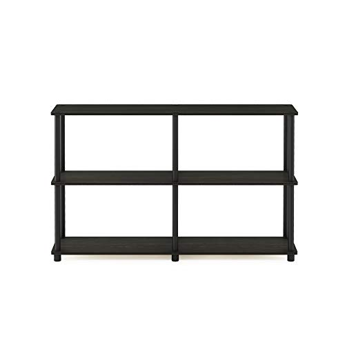 Furinno Turn-N-Tube 3-Tier Double Size Storage Display Rack, Espresso/Black