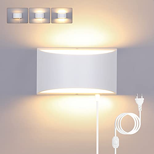 Glighone 12W Apliques de Pared con interruptor Regulable Lámpara de Pared Moderna con Enchufe Lámpara colgante de pared interior para dormitorio junto a la Cama, Blanco