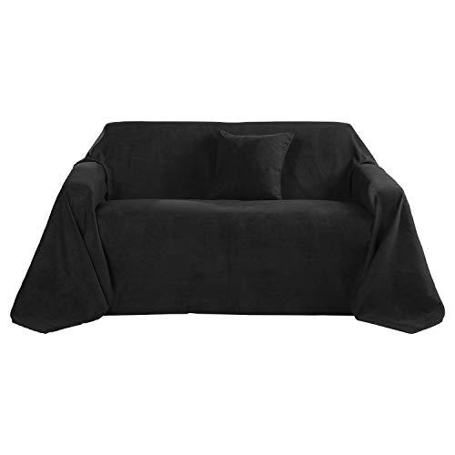 Beautissu Romantica Decke 210x280cm in Wildleder-Optik als Sofa-Überwurf Tagesdecke Plaid in Schwarz erhältlich