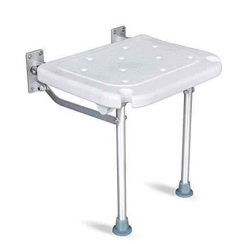 PULLEY Silla de ducha plegable con montaje en pared, silla de baño para discapacitados, silla de ducha de aleación de aluminio antideslizante (32 x 40 x 42 cm)
