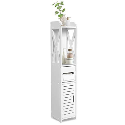 Cocoarm Badezimmerschrank Badschrank Badregal Badezimmer WC Möbelschrank mit Offenem Fach Weiß Holz Schrank Regal Tissue Storage Rack, 80x15.5x15CM