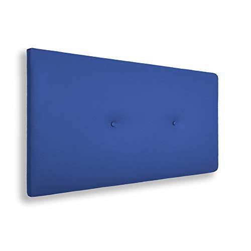 SILCAR HOME - Cabecero de Cama Tapizado en Polipiel con Hilera de Botones, Modelo Silvi (Azul, 90 cm) | Cabecero Acolchado | Cabezal Tapizado | Cabecero Original