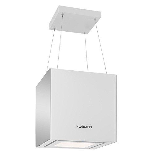 Klarstein Kronleuchter Inselabzugshaube, EEK A, quadratisch, 45 cm breit, 600m3/h, Umluft, 3 Leistungsstufen, LED, Fernbedienung, Dunstabzugshaube, Inselhaube, weiß