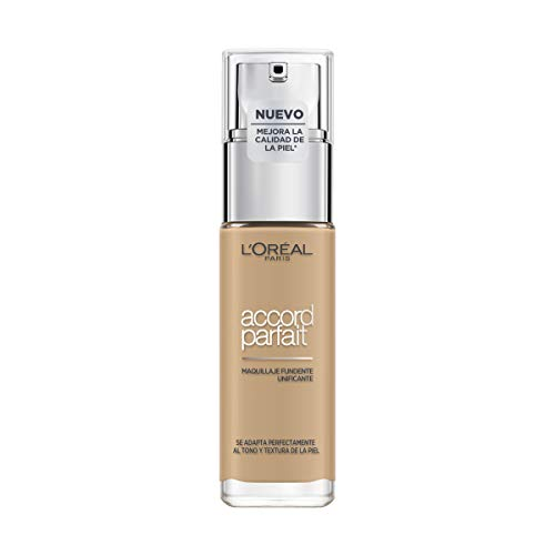 L'Oreal Paris Accord Parfait Base de Maquillaje con Acabado Natural, Tono Claro 3D Golden Beige - 30 ml