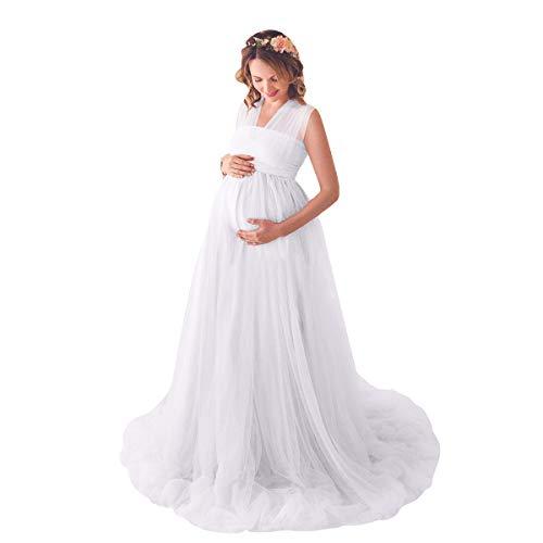 FYMNSI Umstandskleid Schwangere Multiway Tüllkleid Elegante Fotografie Stützen Mutterschaft Langes Abendkleid Damen Hochzeitskleid Brautkleid Bodenlänge Umstandsmode Fotoshooting Kleidung Weiß L