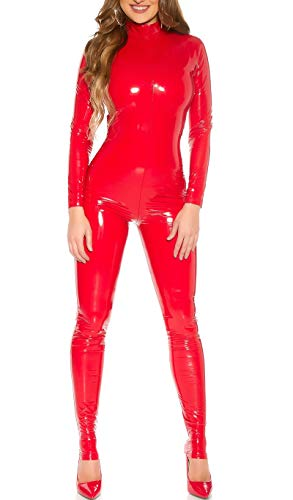 Koucla Highcollar Wetlook Lederlook Lack Optik Catsuit Overall (Rot, XL)