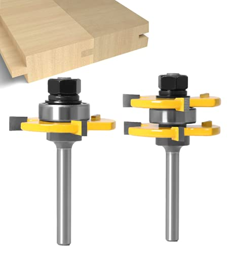 Tongue and Groove Set - APLUS Router Bit Set [ 2 Piece ] - Woodworking Milling Wood Cutter Tool for Engraving Machine Trimming Machine… (1/4 Inch Shank)