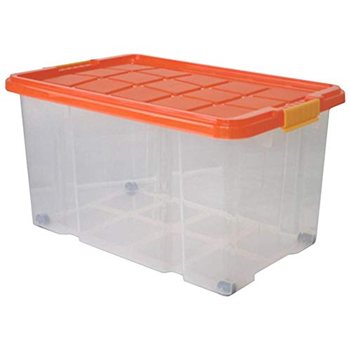3 Stück AXENTIA Unibox mit Deckel und Rollen Stapelbox Universalbox Aufbewahrungskiste Spielzeugbox 60 x 40 x 26 cm 45 Liter