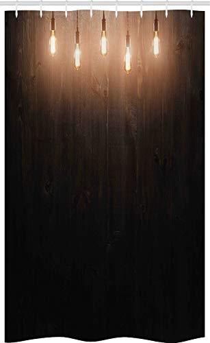 ABAKUHAUS industrieel Douchegordijn, Wooden Room, voor Douchecabine Stoffen Badkamer Decoratie Set met Ophangringen, 120 x 180 cm, Dark Brown Cinnamon