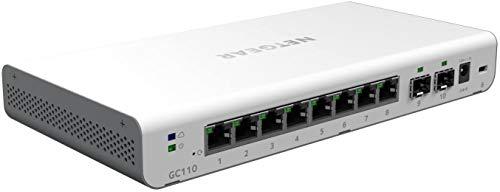 NETGEAR 8 Port Gigabit Ethernet L2+ Smart Switch with Insight Remote Management, 2 Port SFP Fiber (GC110)