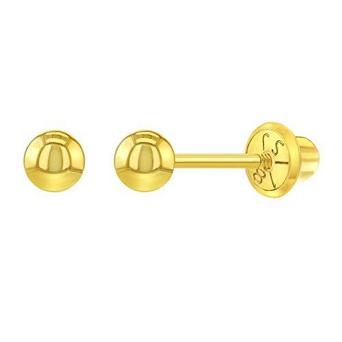 In Season Jewelry 18k Oro Amarillo Hipoalergenico Pendientes pequeñas, clásicos, de 3 mm, con perno de bola liso, con tornillo de seguridad, para bebés y niñas pequeñas