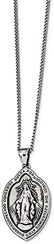 LKLFC Collar para Mujer Collar para Hombre Colgante Antiguo Antiguo Acero Inoxidable Medalla milagrosa Collar 22 (40.13x26.31mm) Collar Colgante Regalo para niñas niños