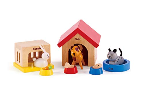 Family Pets Wooden Dollhouse Animal Set by Hape | Complete Your Wooden Dolls House with Happy Dog  Cat  Bunny Pet Set with Complimentary Houses and Food Bowls