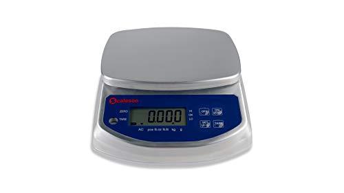 SCALESON S120 balanza compacta/balanza de mesa/balanza de pastelería/balanza de cocina de acero inoxidable protegida contra el polvo y las salpicaduras de agua (IP68) Max. 6kg - 1g …