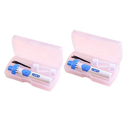 harayaa 2 X Eliminación de Cera de Oídos Aspiradora Eléctrica Suciedad Herramienta de Seguridad Indolora BLANCO + AZUL