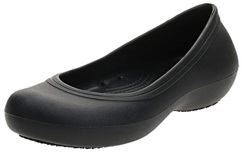Crocs At Work Flat Damen Ballerinas, Schwarz (Black), 37/38 EU