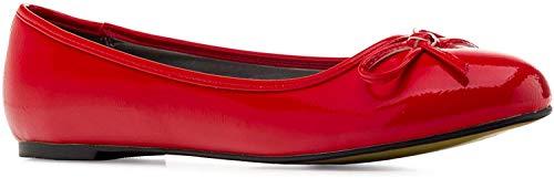 Flache Ballerinas für Damen und Junge Frauen mit flachem Blockabsatz und dekorativer Schleife - Loafer - TG104 – Große Auswahl an Farben und Ausführungen-Lack Rot-42 EU