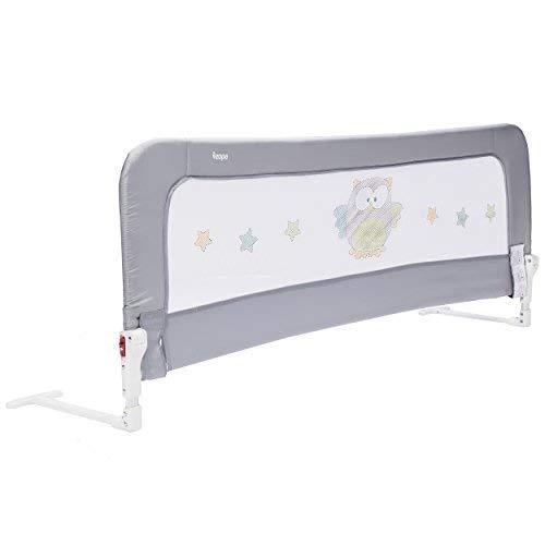 ZOPA Bettgitter Monna - Bettschutzgitter für Kinder ab 18 Monaten bis 5 Jahren - Rausfallschutz mit Gelenk zum Aufklappen - Babybettgitter mit einfacher Montage, pflegeleicht (Farbe: Griffin Grey)