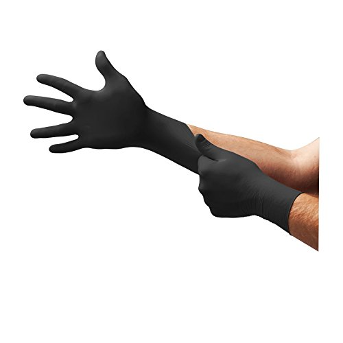 Ansell Microflex 93-852 Einweghandschuhe für Mechaniker, Einmal-handschuh für Mediziner und Pflegepersonal, Schwarz, 100 Einheiten, GrößeXS/5.5-6