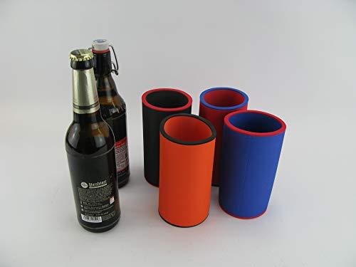 asiahouse24 4er Set Bunt Getränkekühler 0,5l Flasche - Bierkühler - Neoprenkühler - passgenau ~Flaschenkühler~ für alle genormten 0,5l Bierflaschen aus hochwertigen 5-6mm starken Neopren