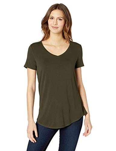 Amazon Essentials Women's Relaxed-Fit Solid Short-Sleeve V-Neck Tunic, Dark Olive, M