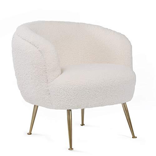 N\C Modern Wohnzimmer Sessel Sitzhöhe 46cm Lounge TV Sessel für Wohnzimmer und Schlafzimmer Weiß Teddy Fabric bis 150 kg Sofa Stuhl