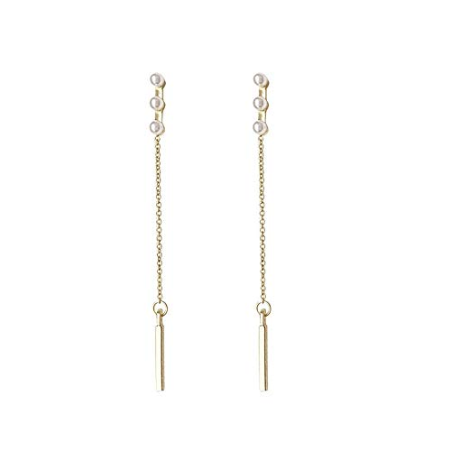 Xi-Link S925 Silbernadel, Koreanisches Temperament, Einfache Ohrringe, Bohren, Langer Stock, Perle, Supreme (Color : Ear Studs)