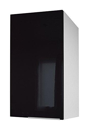 Berlioz Creations CP4HN Meuble Haut de Cuisine avec 1 Porte Noir Haute Brillance 40 x 34 x 70 cm
