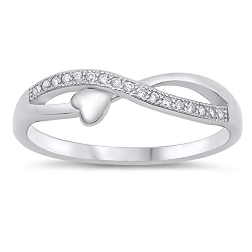 White CZ Infinity Heart Love Knot Purity Ring Sterling Silver Band
