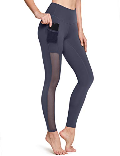 TSLA High Waist Yoga Pants with Pockets, Tummy Control Yoga Leggings, Non See-Through 4 Way Stretch Workout Running Tights, Ankle Mesh(fgp73) - Charcoal, Large